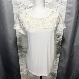 White Rose + Olive shirt with lace detail